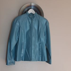 Danier Vintage Leather Jacket in Turquoise